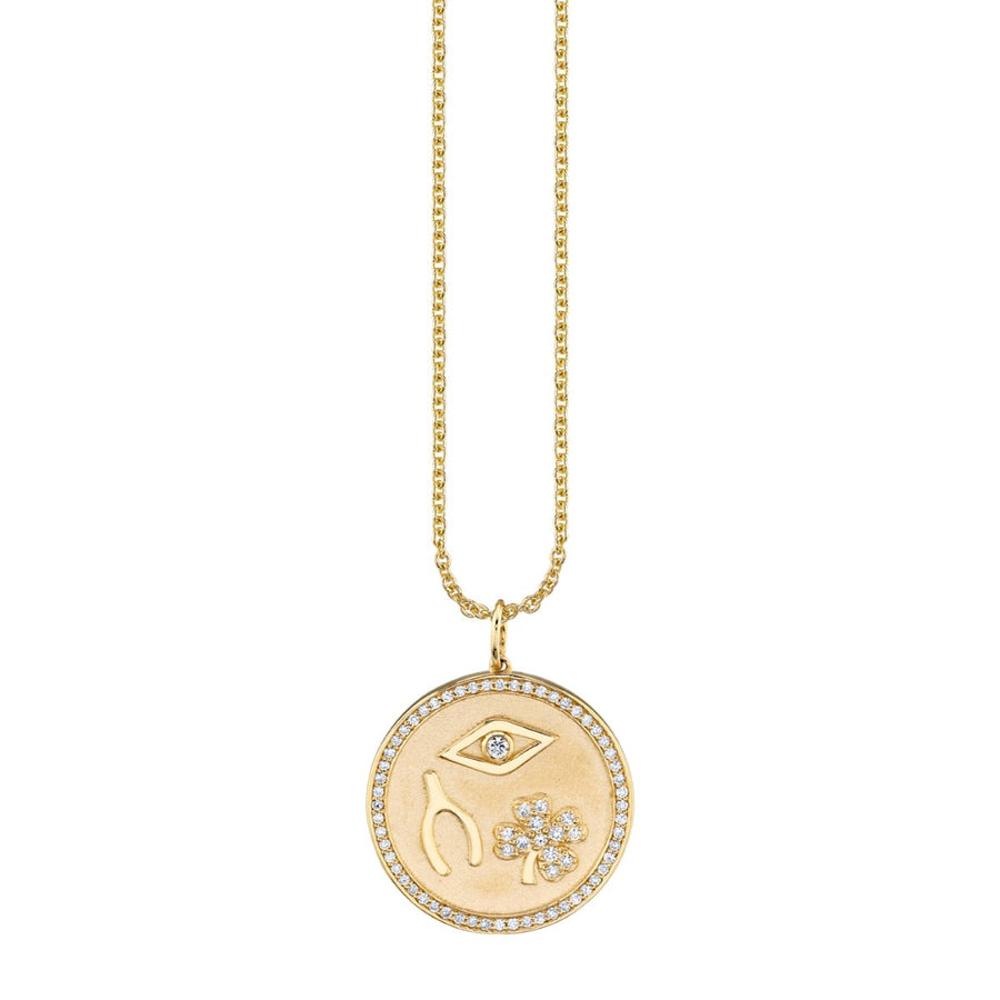 Gold & Pavé Diamond Clover Luck and Protection Coin Necklace
