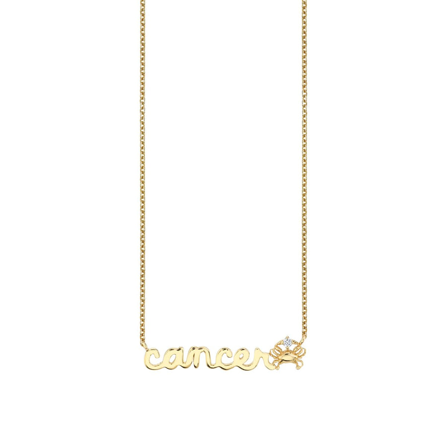 Yellow Gold Cancer Script Zodiac Necklace