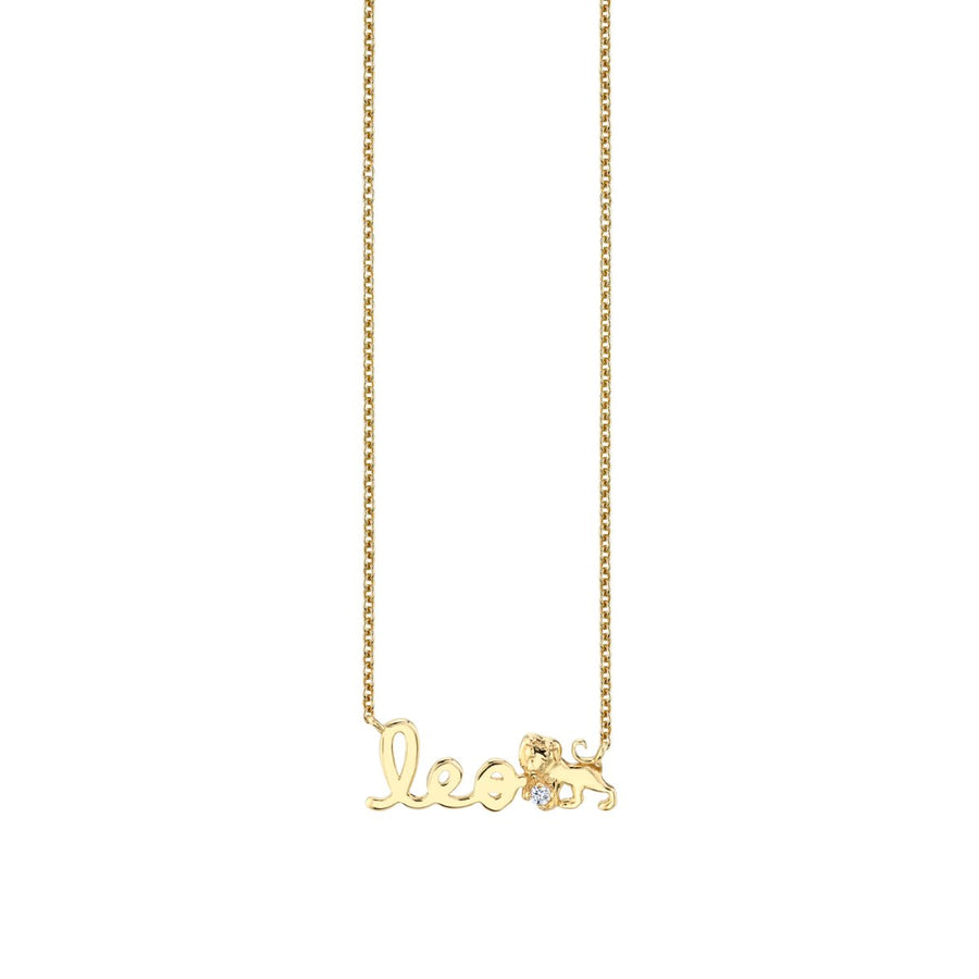 Yellow Gold Leo Script Zodiac Necklace