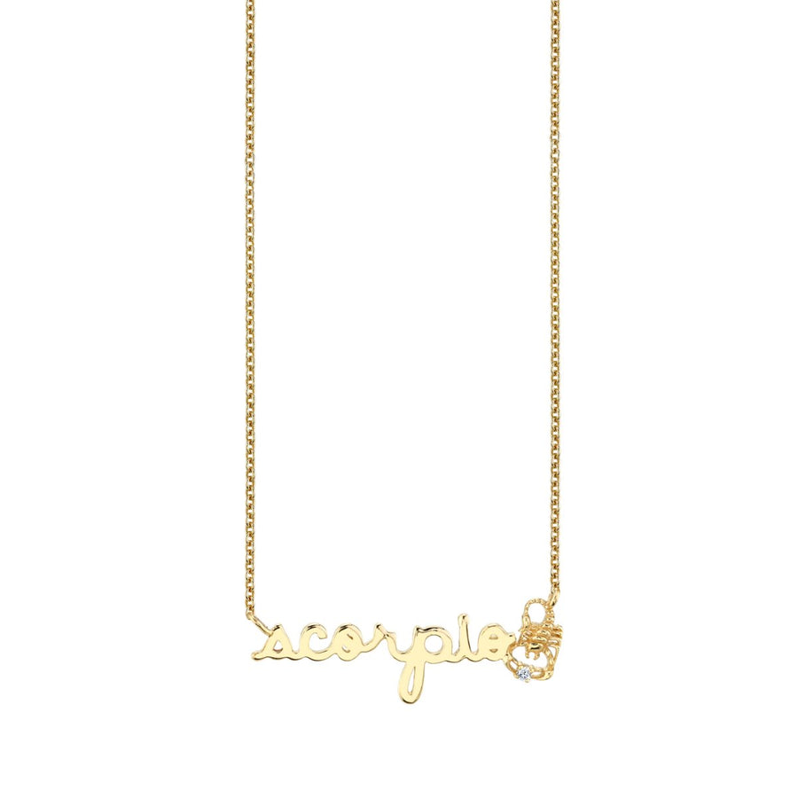 Yellow Gold Scorpio Script Zodiac Necklace