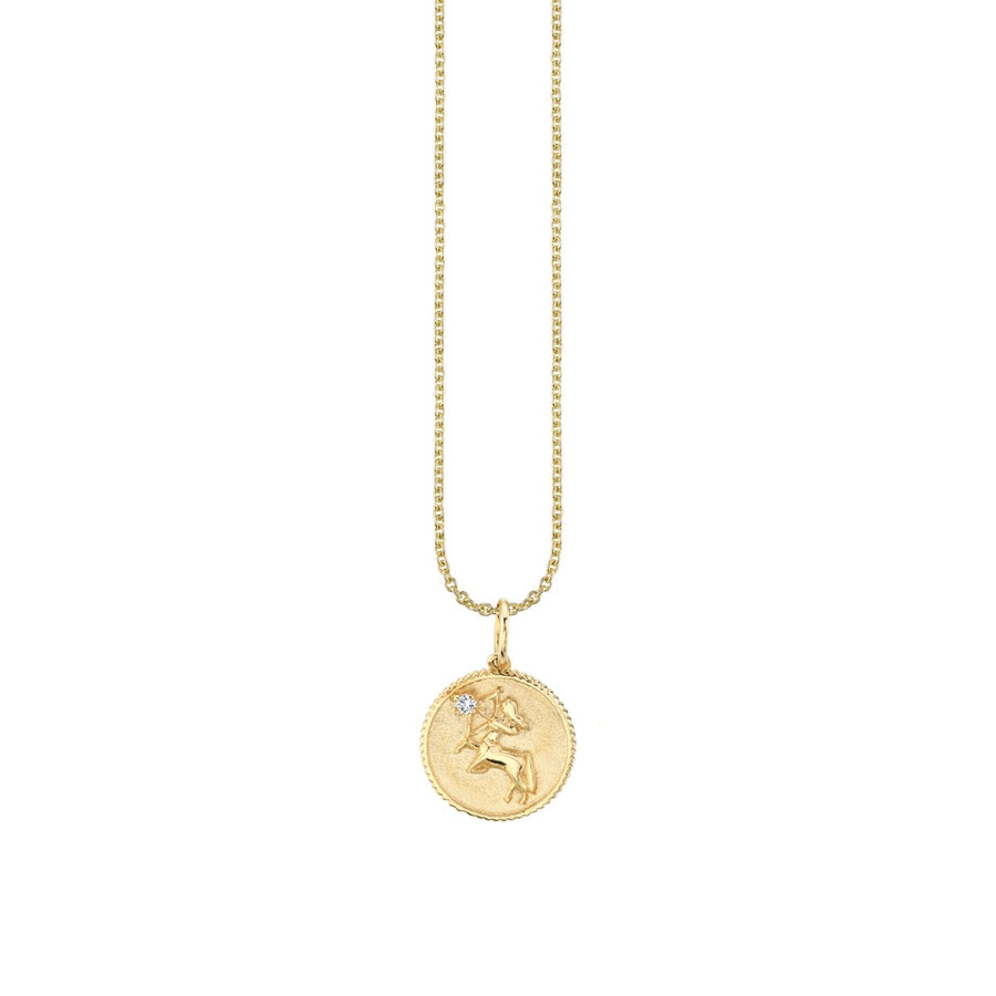 Yellow Gold Sagittarius Zodiac Medallion Necklace