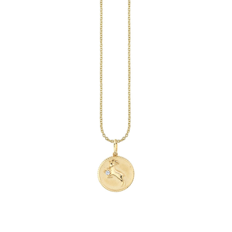 Yellow Gold Capricorn Zodiac Medallion Necklace