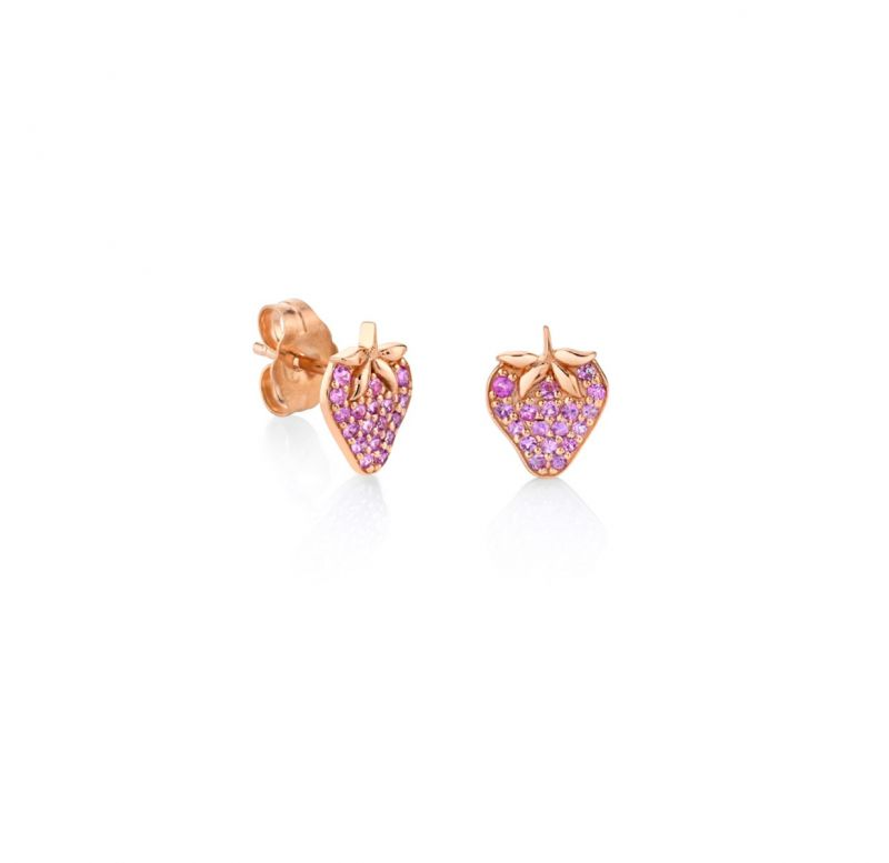 Rose Gold & Pink Sapphire Strawberry Studs