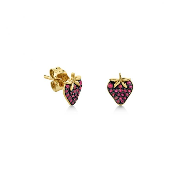 Yellow Gold & Ruby Strawberry Studs