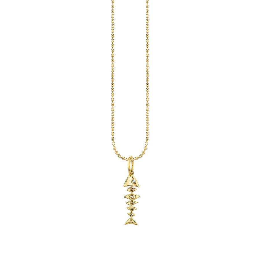 Gold & Diamond Small Fishbone Charm Necklace