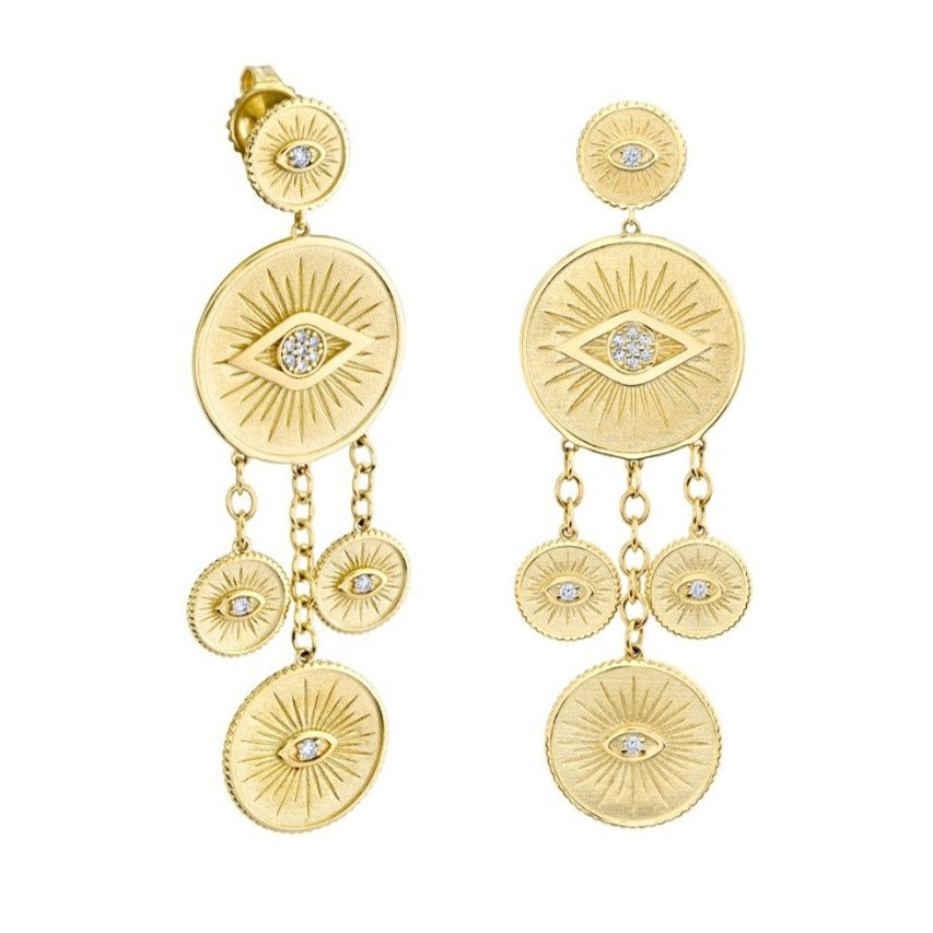 Yellow Gold & Diamond Evil Eye Coin Chandelier Earrings