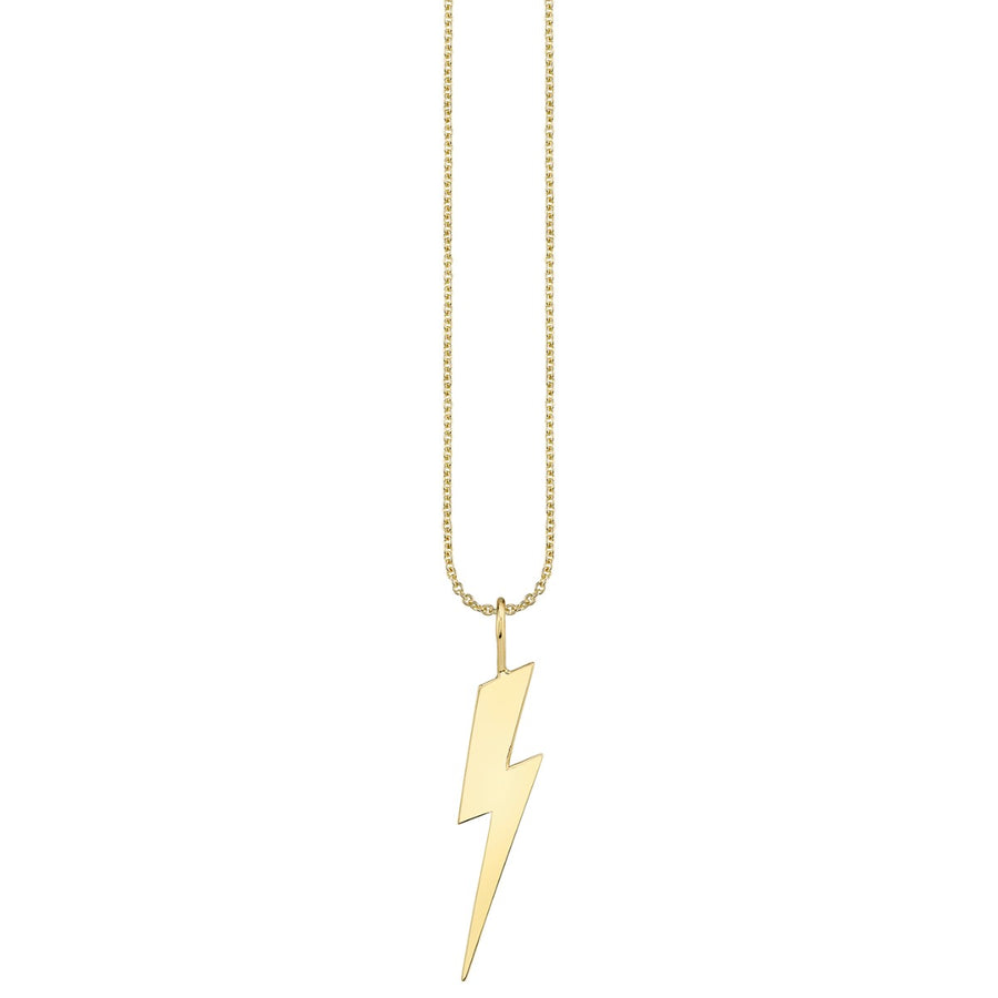 Pure Gold Large Lightning Bolt Charm Necklace