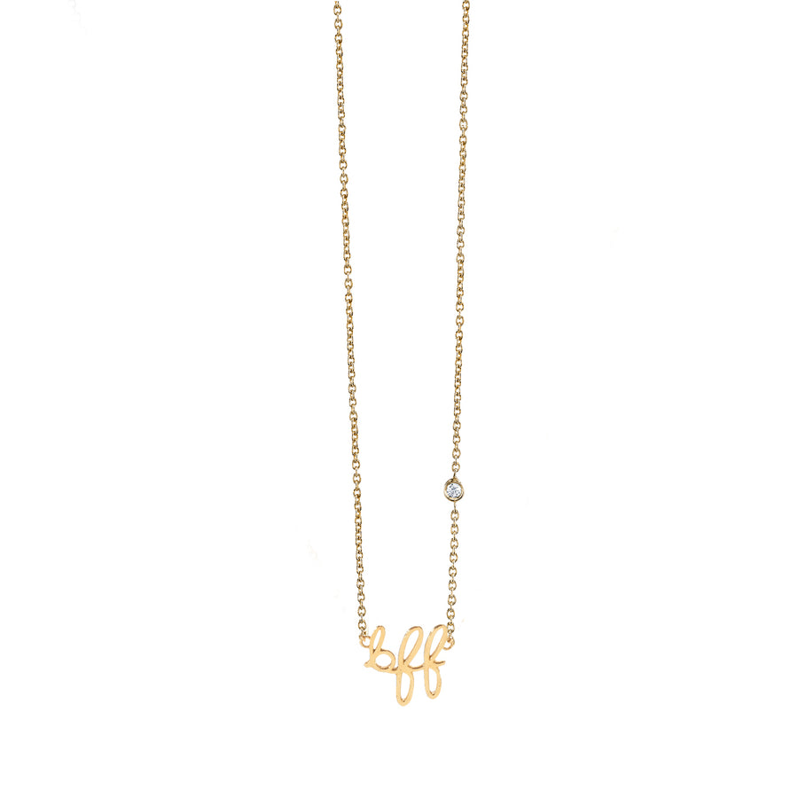 Gold Plated Sterling Silver BFF Necklace with Bezel-Set Diamond