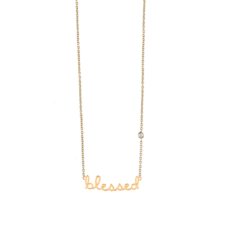 Yellow-Gold Plated Sterling Silver Blessed Necklace with Bezel-Set Diamond