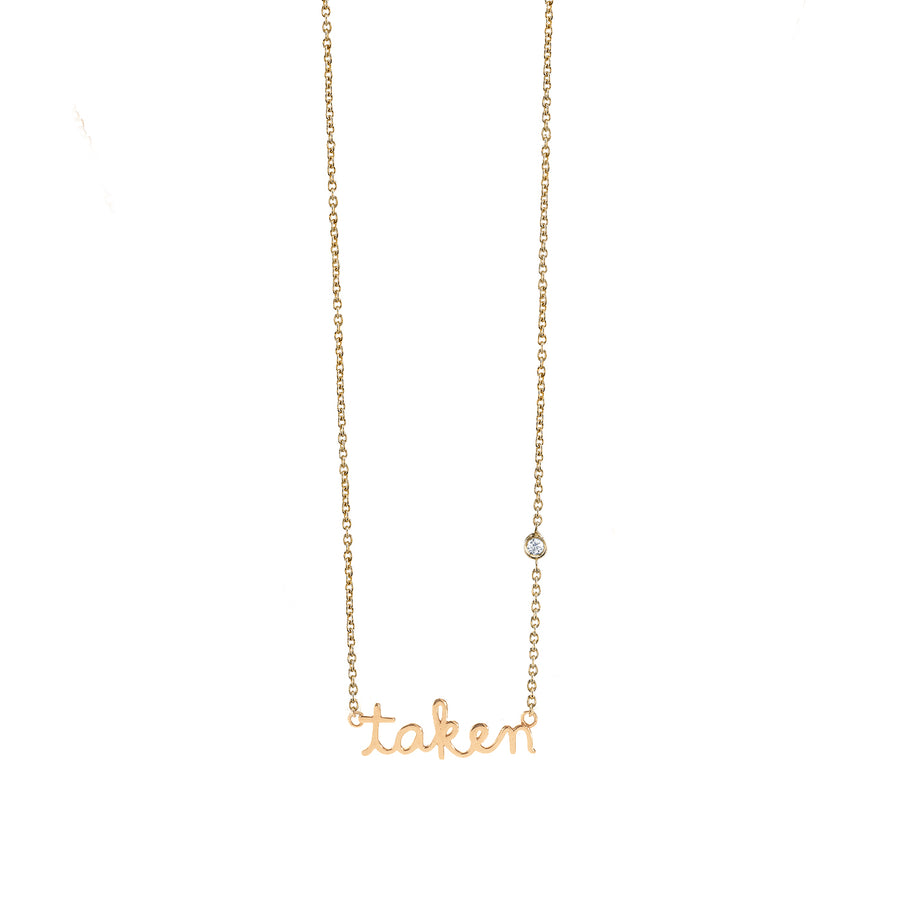 Yellow-Gold Plated Sterling Silver Taken Necklace with Bezel-Set Diamond