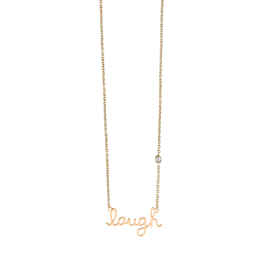 Gold Plated Sterling Silver Laugh Necklace with Bezel-Set Diamond