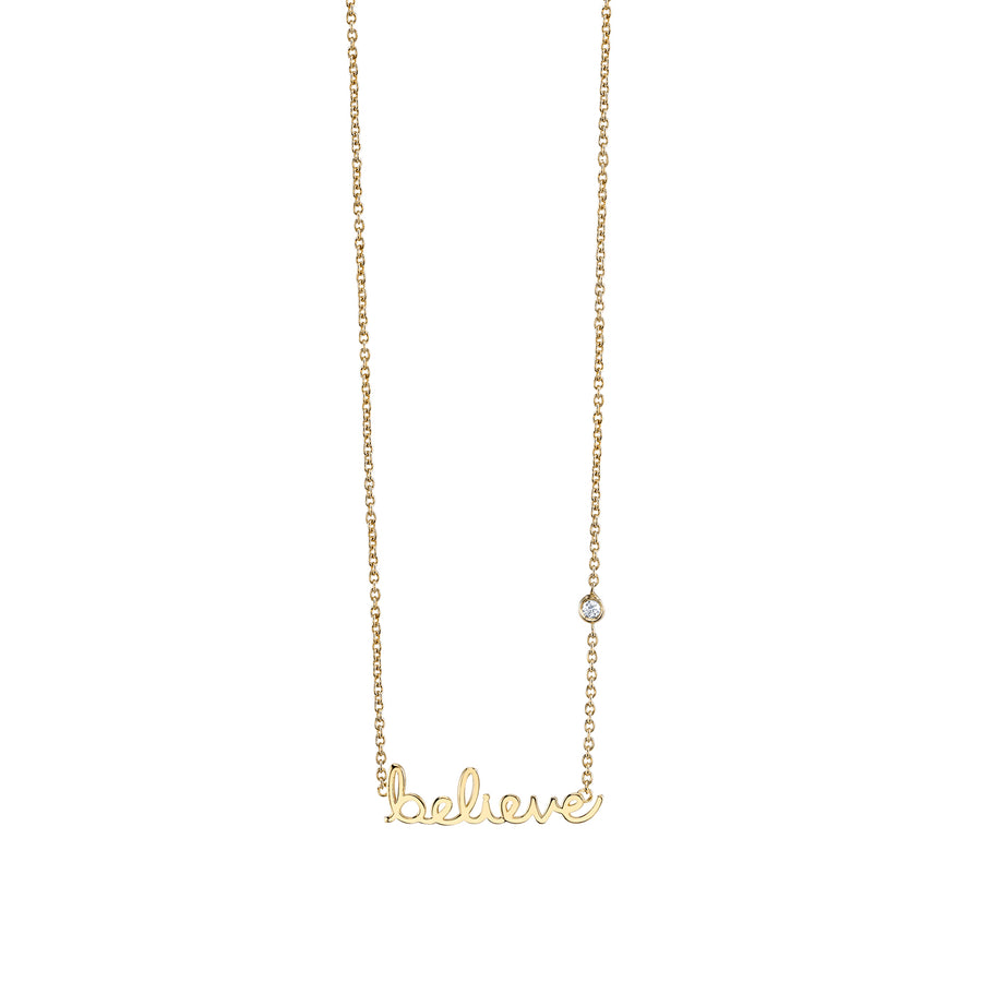 Yellow-Gold Plated Sterling Silver Believe Necklace with Bezel Set Diamond
