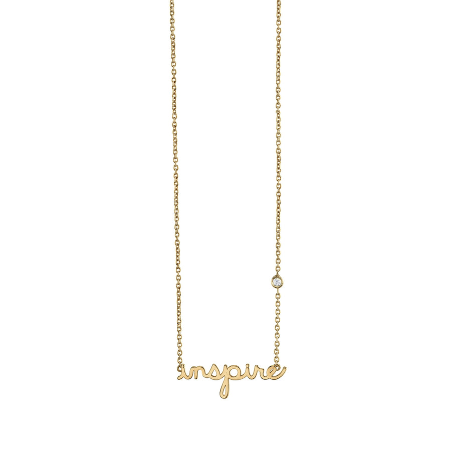 Yellow-Gold Plated Sterling Silver Inspire Necklace with Bezel-Set Diamond