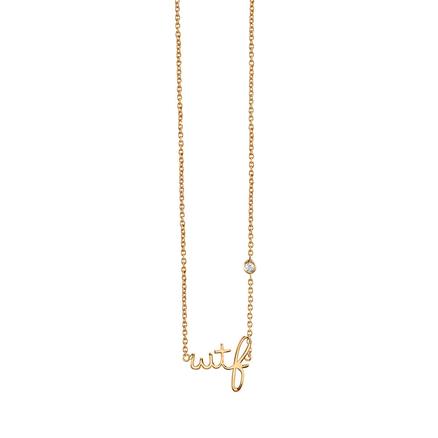 Yellow-Gold Plated Sterling Silver WTF Necklace with Bezel Set Diamond