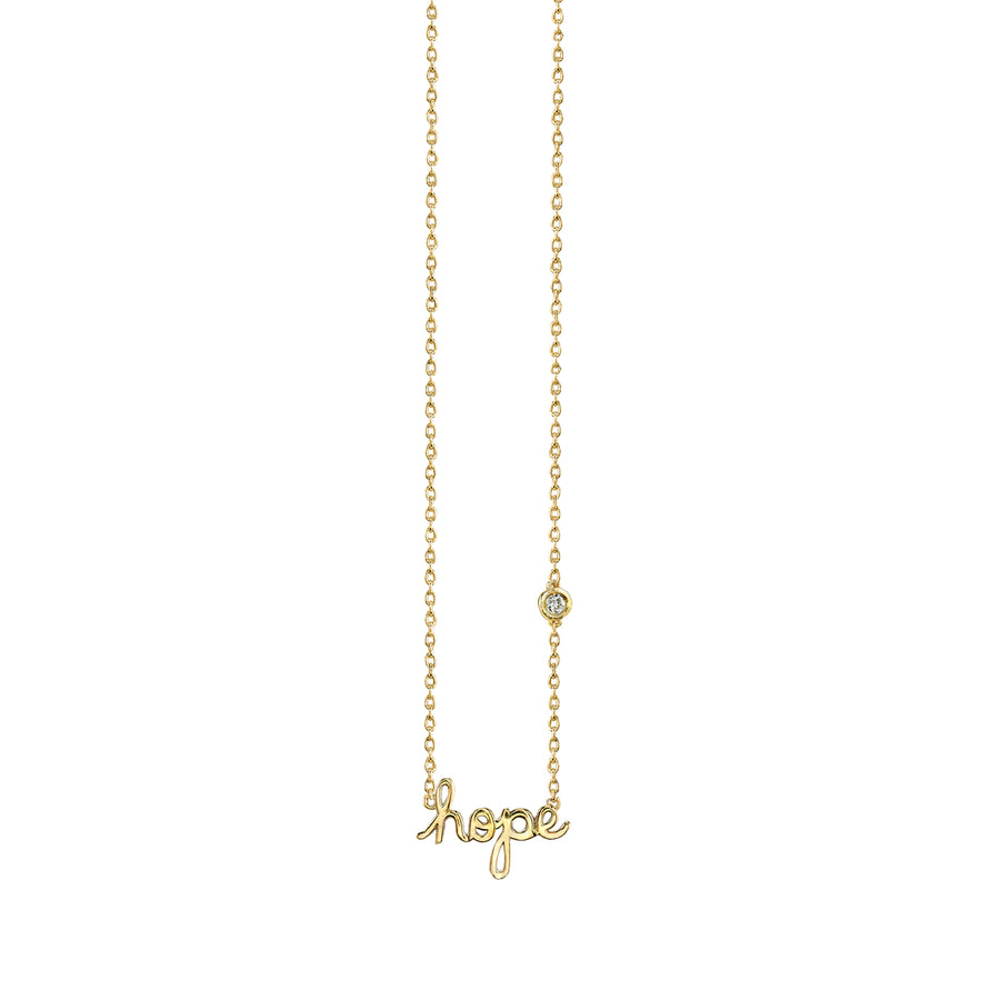 Yellow-Gold Plated Sterling Silver Hope Necklace with Bezel Set Diamond
