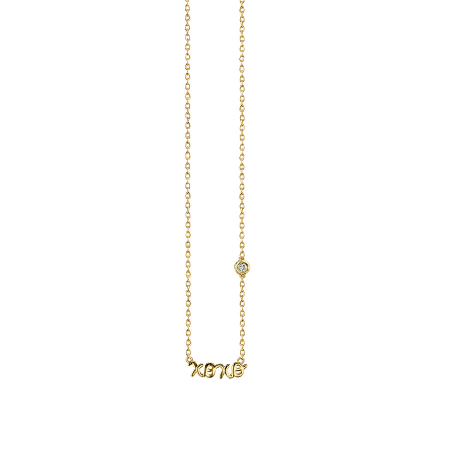 Yellow-Gold Plated Sterling Silver XOXO Necklace with Bezel Set Diamond