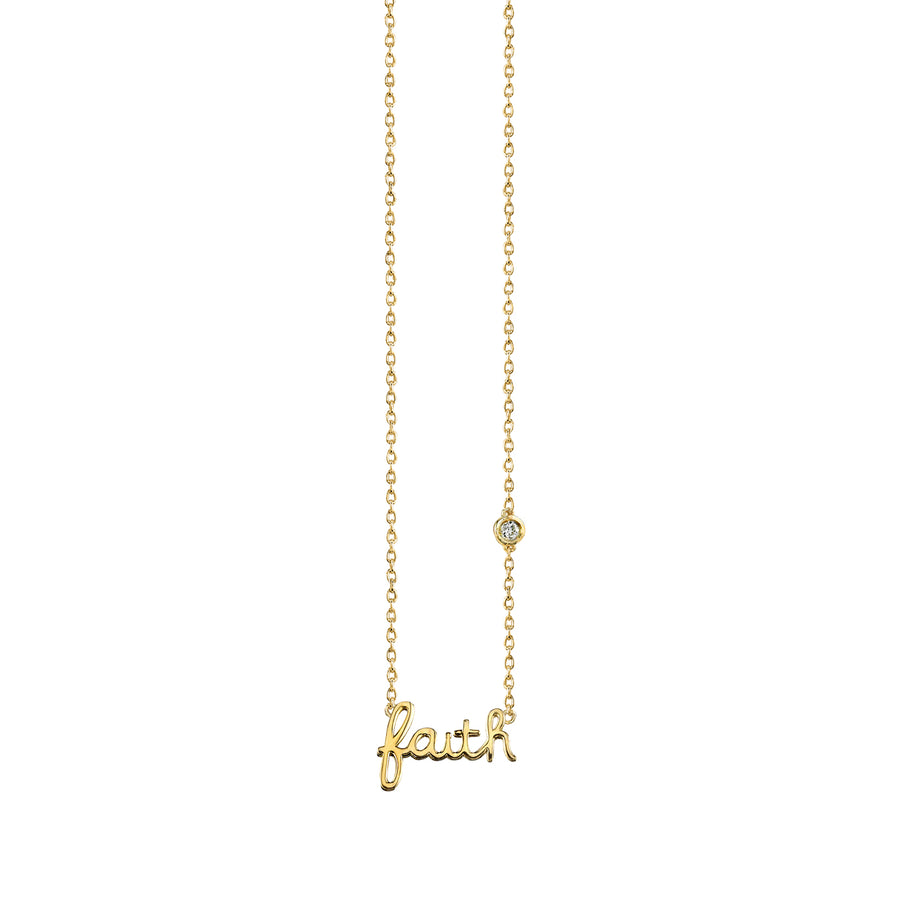 Yellow-Gold Plated Sterling Silver Faith Necklace with Bezel Set Diamond