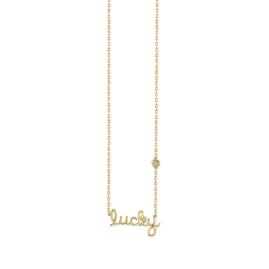 Yellow-Gold Plated Sterling Silver Lucky Necklace with Bezel Set Diamond
