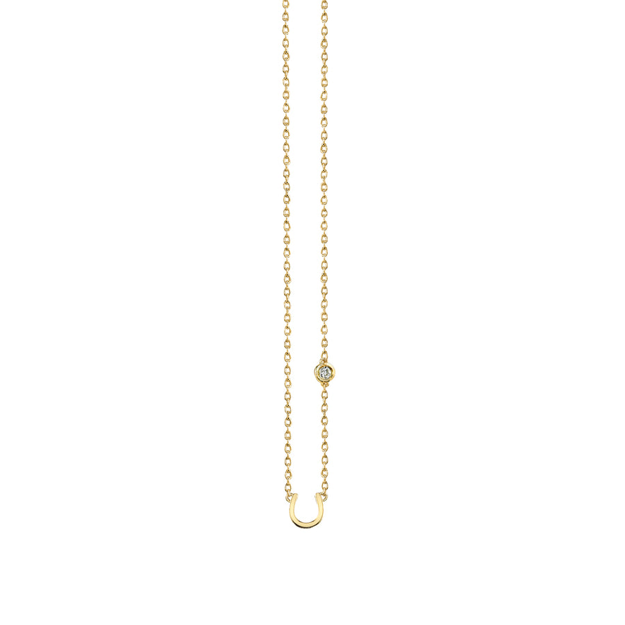 Yellow-Gold Plated Sterling Silver Horseshoe Necklace with Bezel Set Diamond