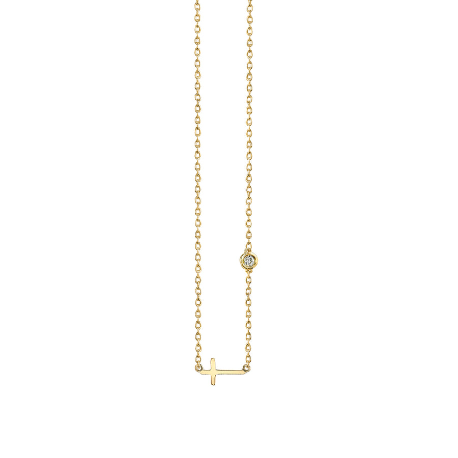 Gold Plated Sterling Silver Cross Necklace with Bezel Set Diamond