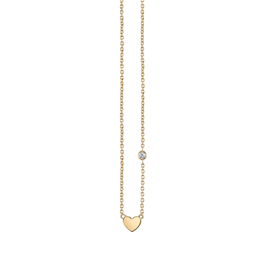 Yellow-Gold Plated Sterling Silver Heart Necklace with Bezel Set Diamond