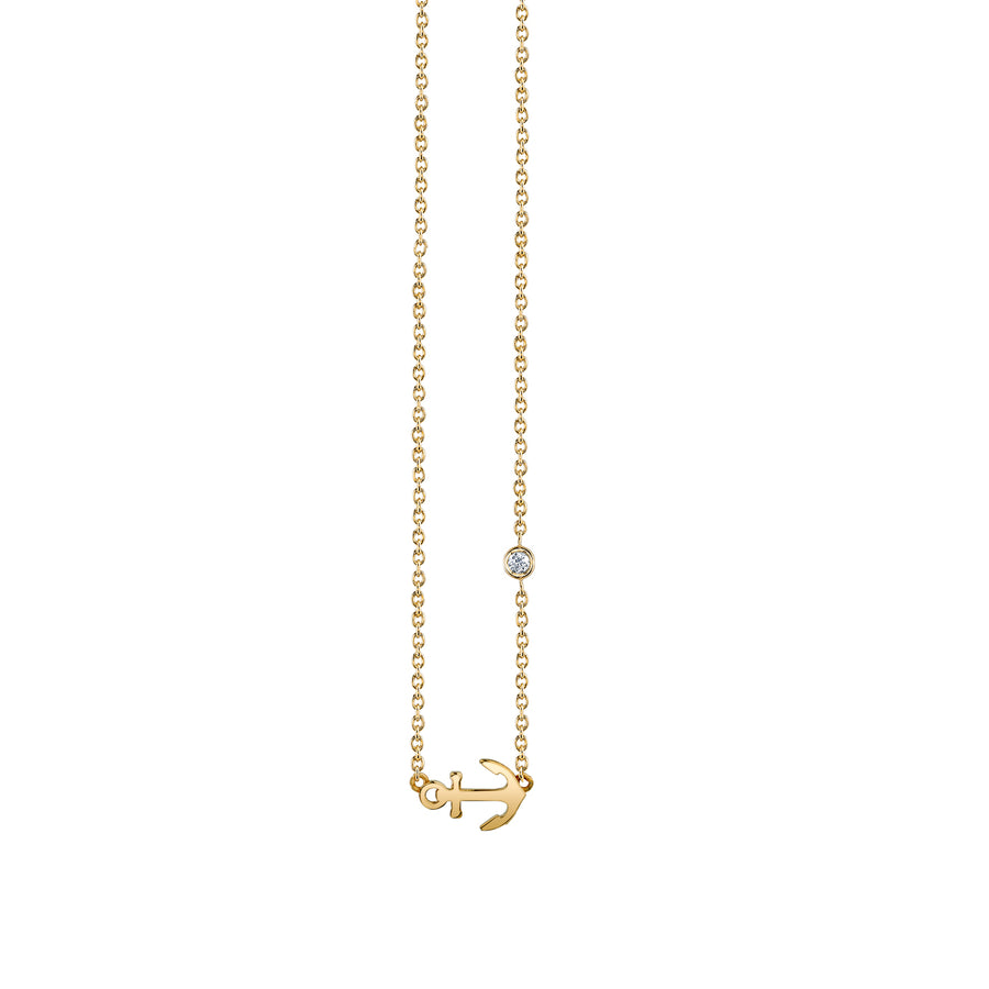 Yellow-Gold Plated Sterling Silver Anchor Necklace with Bezel Set Diamond