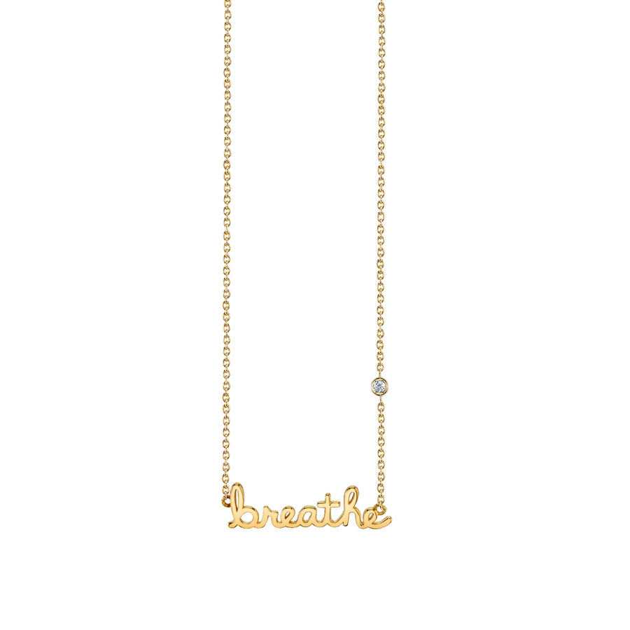 Yellow-Gold Plated Sterling Silver Breathe Necklace with Bezel Set Diamond