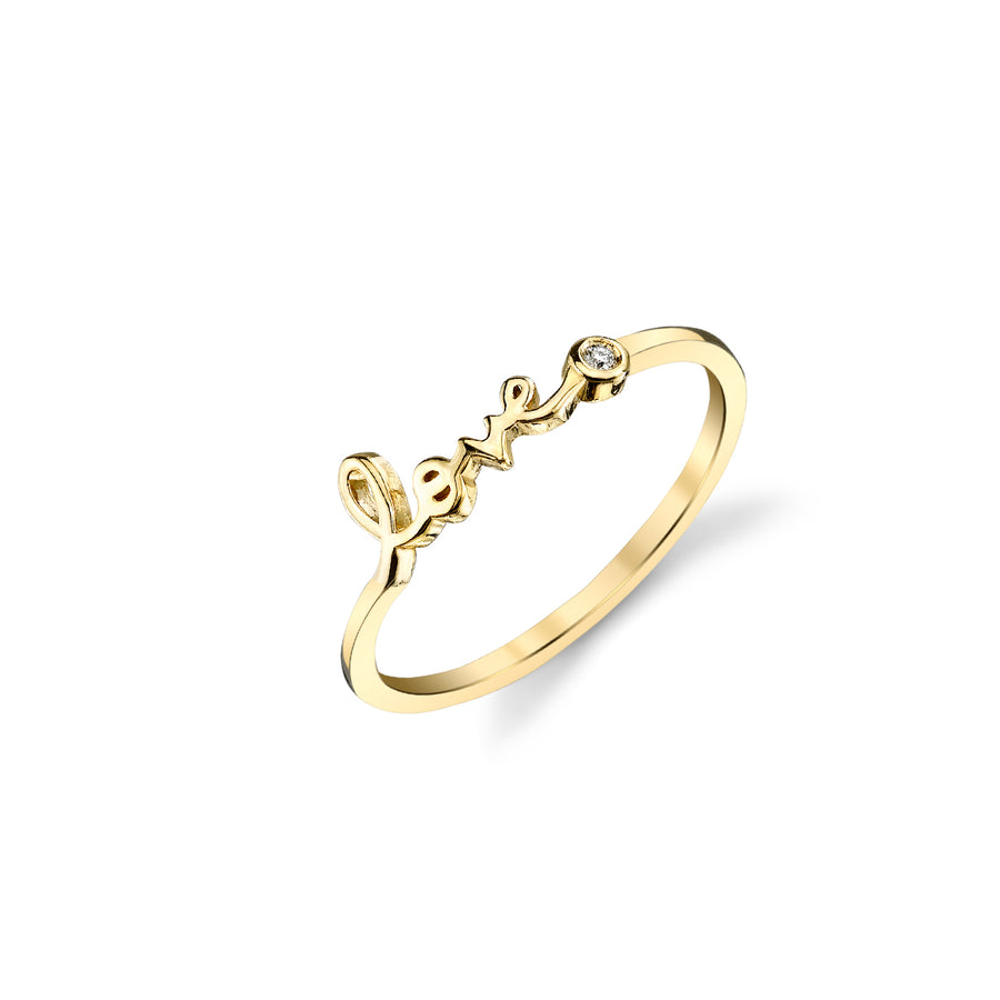 Yellow-Gold Plated Sterling Silver Love Ring With Bezel Set Diamond