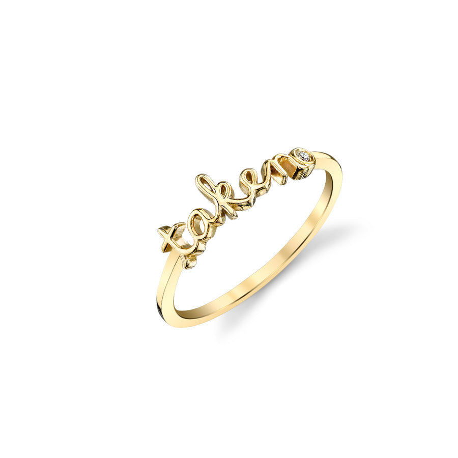 Yellow-Gold Plated Sterling Silver Taken Ring With Bezel Set Diamond