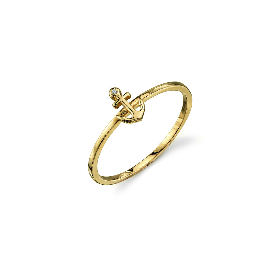 Yellow-Gold Plated Sterling Silver Anchor Ring