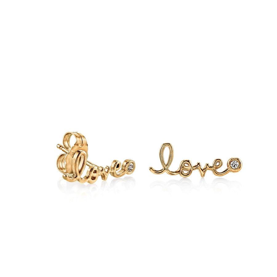 Yellow-Gold Plated Sterling Silver Love Stud Earrings