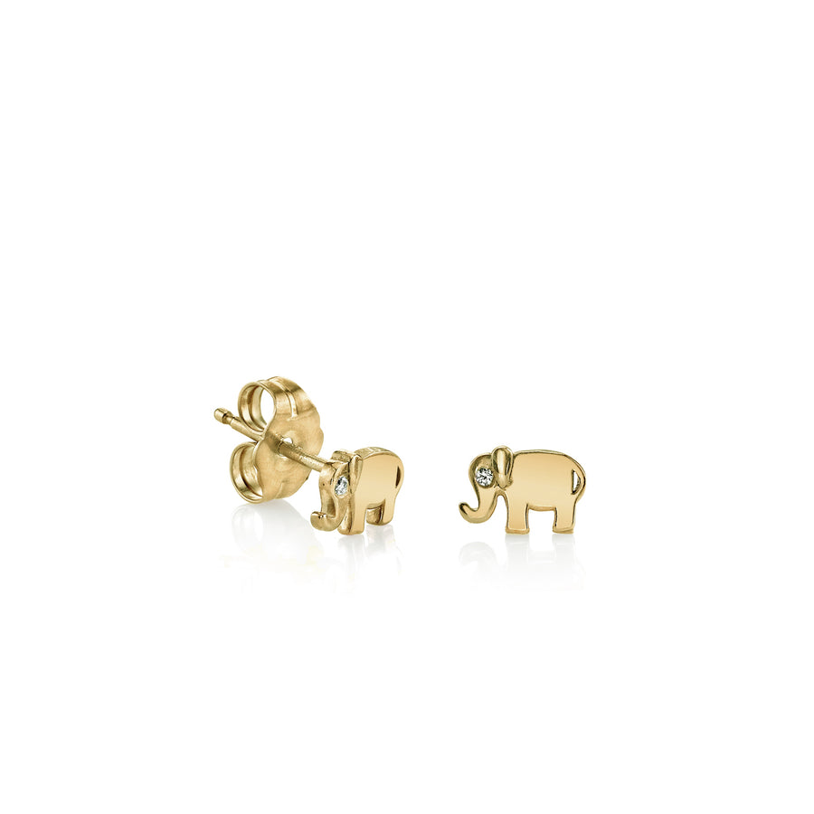 Yellow-Gold Plated Sterling Silver Elephant Stud Earrings
