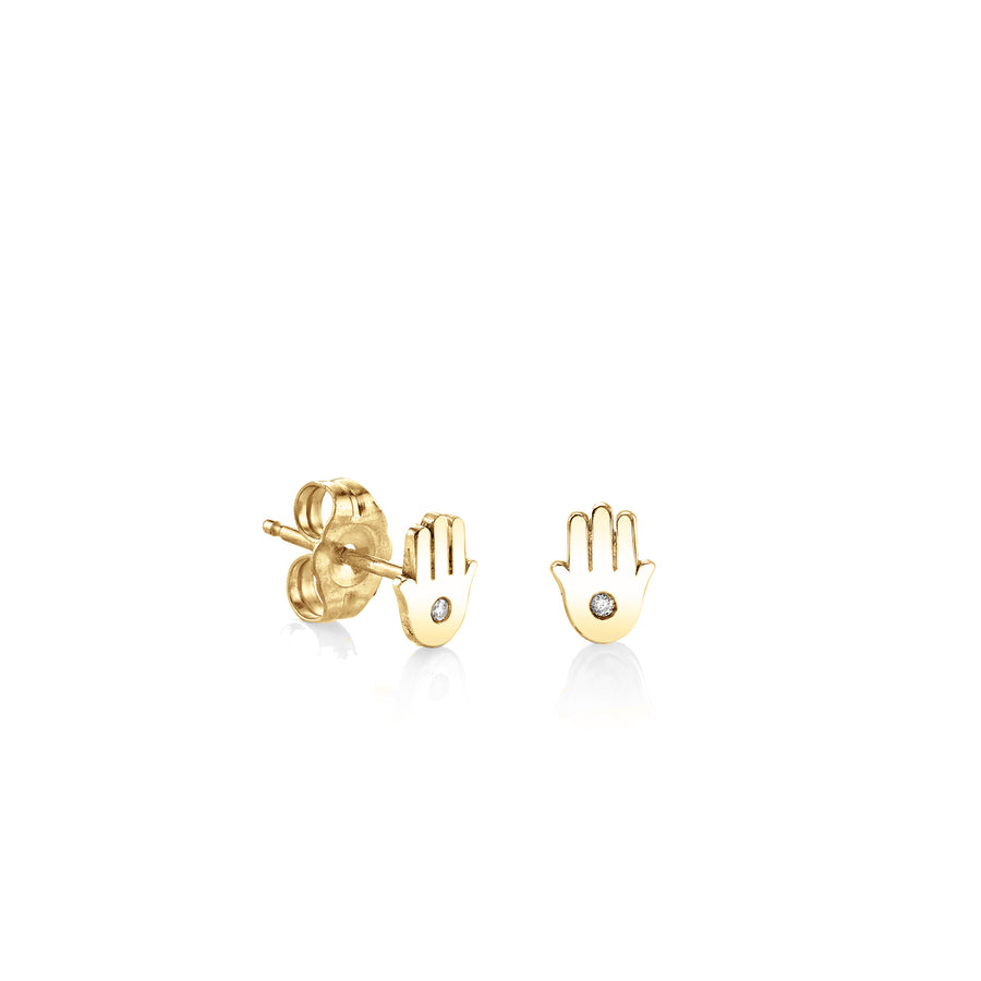 Yellow-Gold Plated Sterling Silver Hamsa Stud Earrings