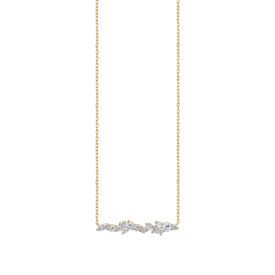 Gold & Diamond Cocktail Short Bar Necklace