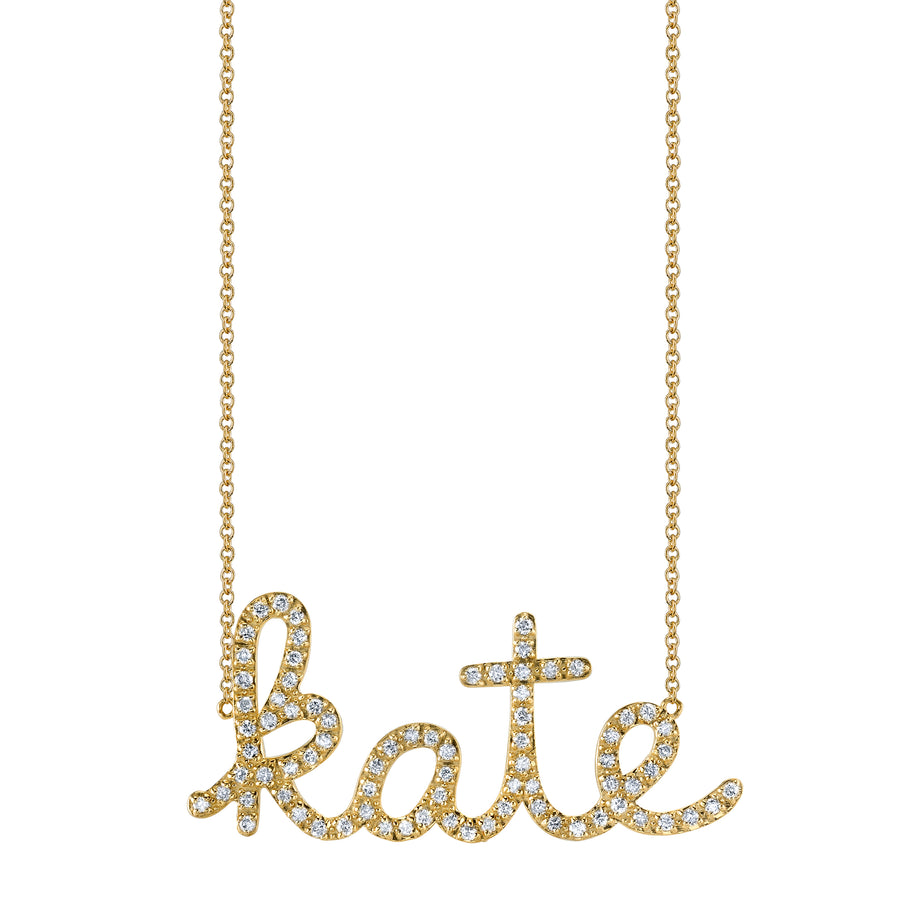 Gold & Diamond Custom Script Necklace