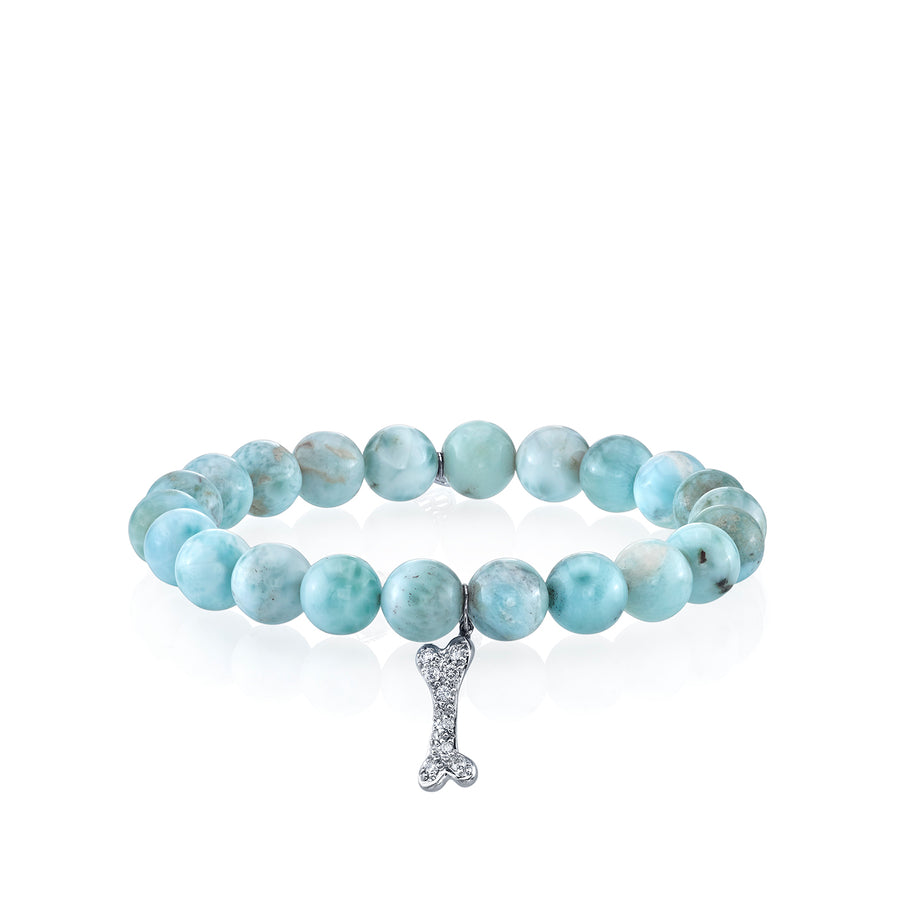 Gold & Diamond Dog Bone on Larimar