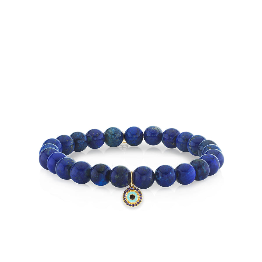 Men's Collection Gold & Sapphire Evil Eye on Lapis