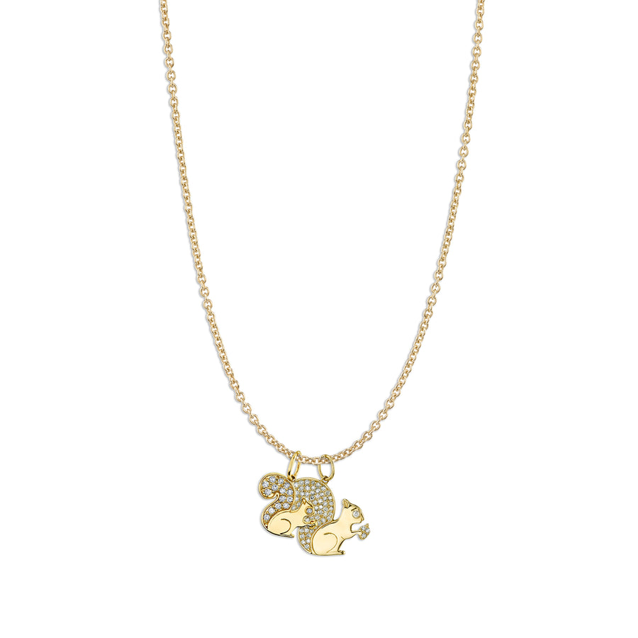 Gold & Diamond Squirrel Family Necklace