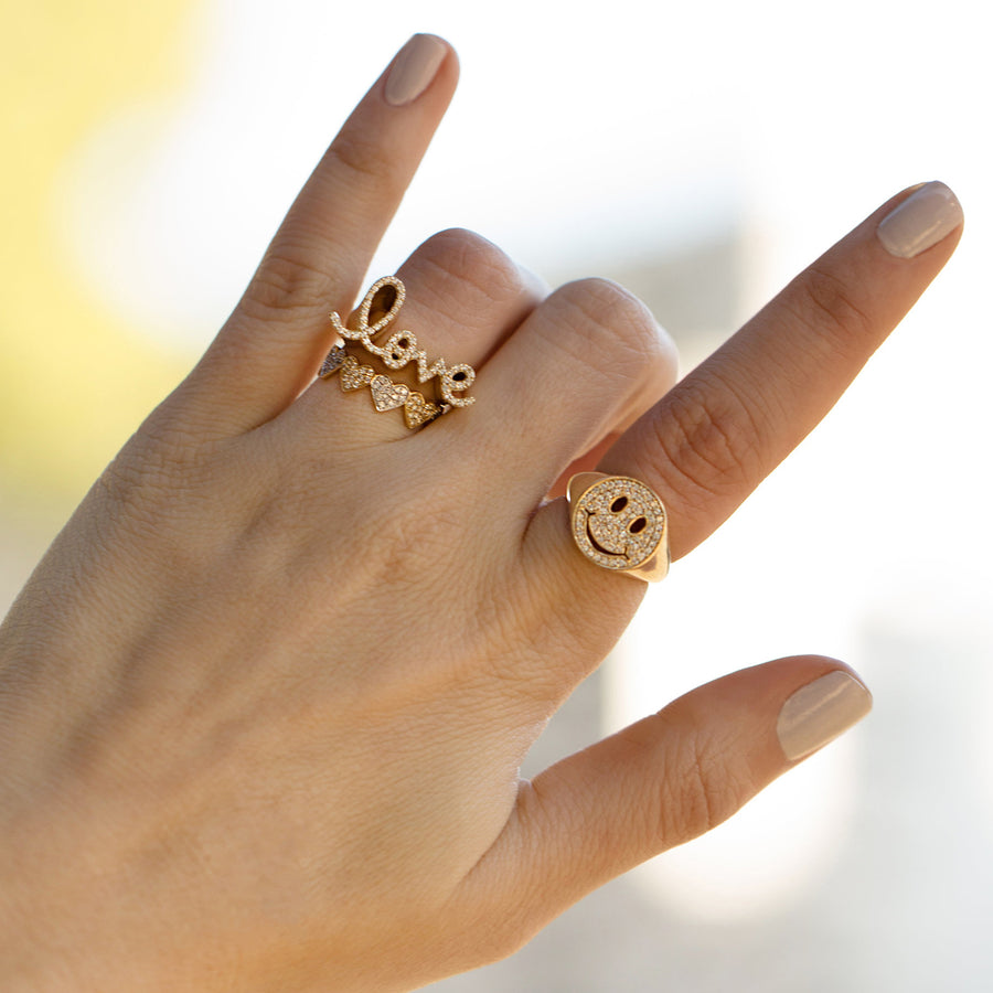 Gold & Diamond Love Script Block Signet Ring