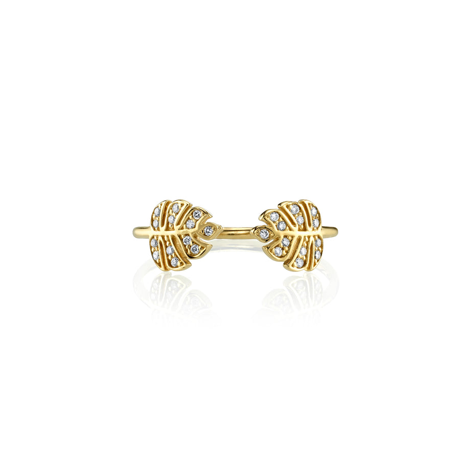 Gold & Diamond Tiny Double Monstera Leaf Ring