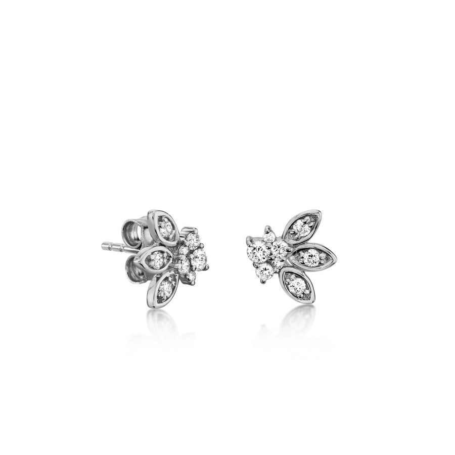 Gold & Diamond Marquis Petal Studs