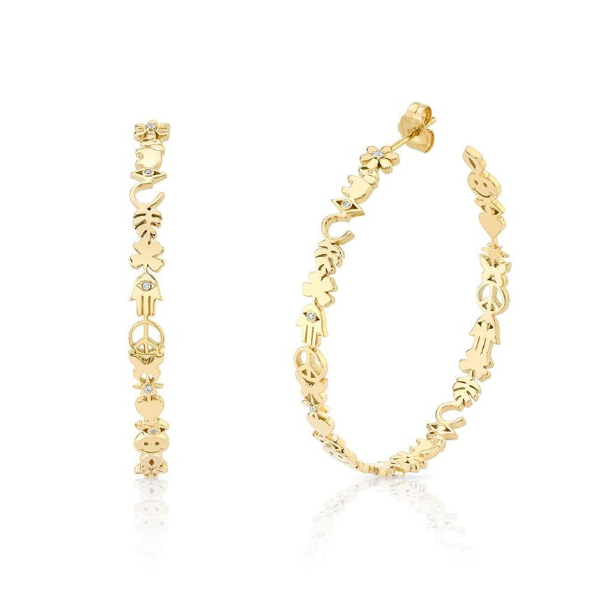 Yellow Gold & Diamond Large Icon Hoops