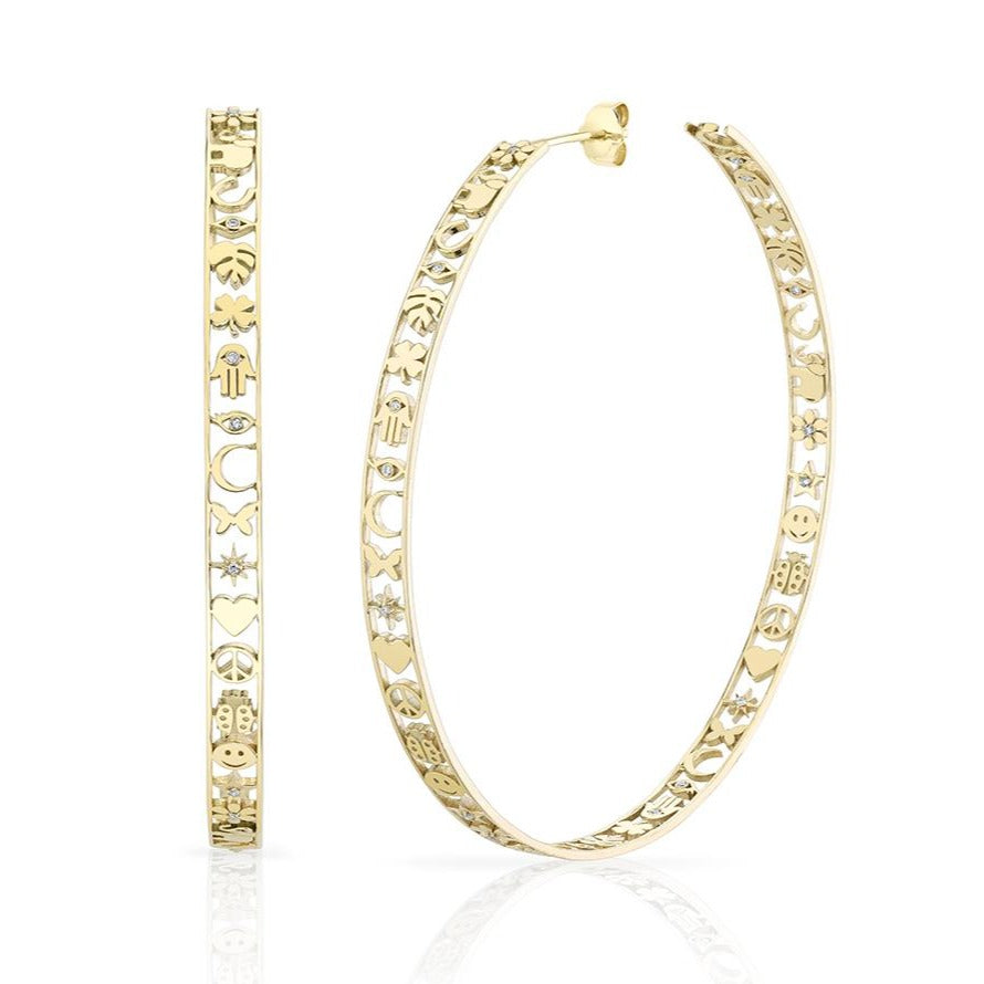Yellow Gold & Diamond Extra Large Icon Hoops