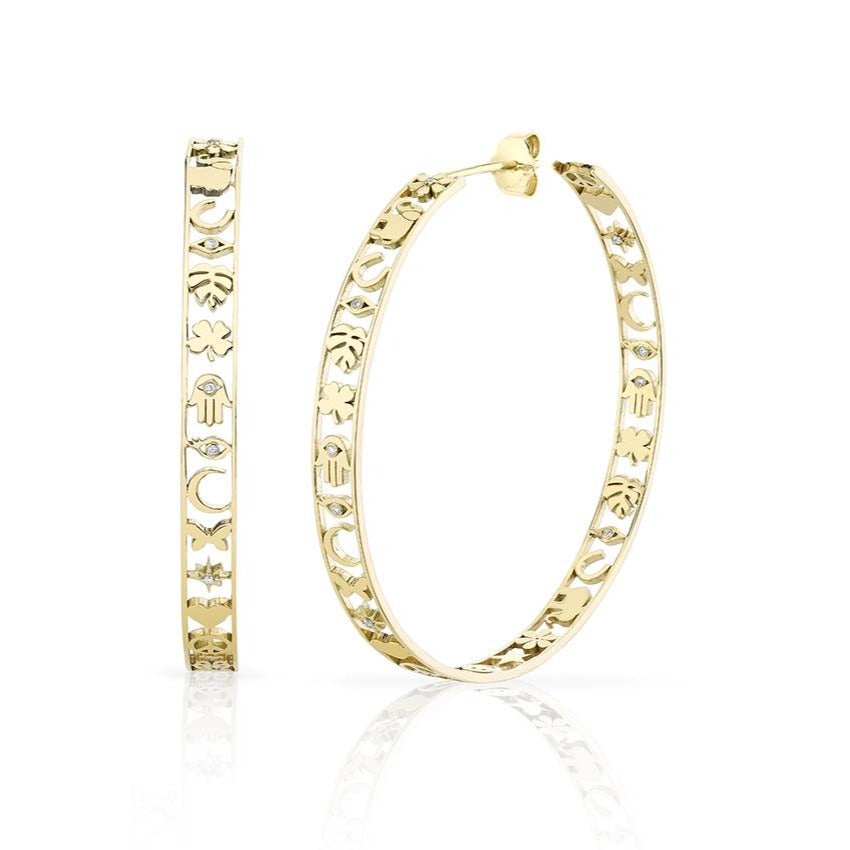 Yellow Gold & Diamond Large Icon Hoops with Border