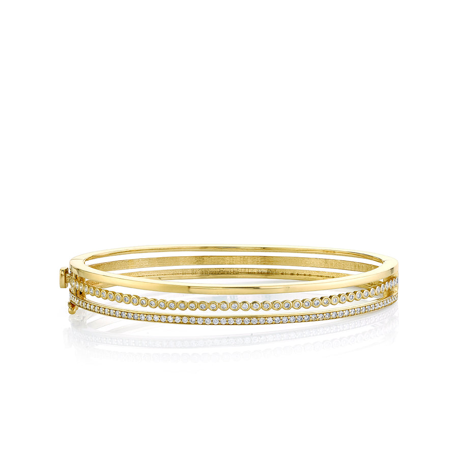Gold & Diamond Triple Hinge Bangle