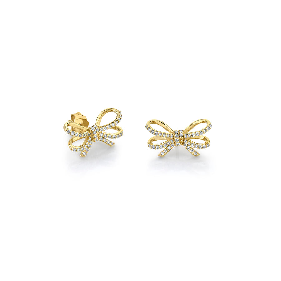 Gold & Diamond Double Bow Studs