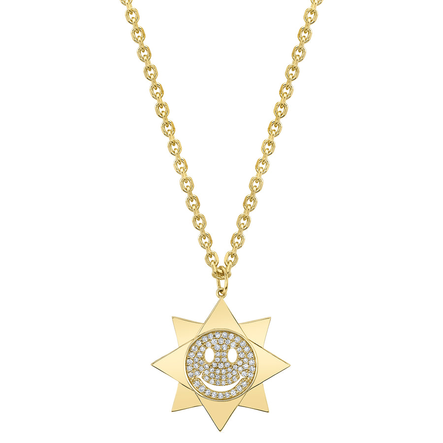 Gold & Diamond Large Happy Face Sun Necklace