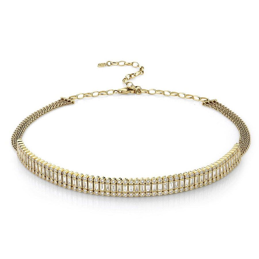 Gold & Diamond Stacked Baguette and Round Bezel Choker