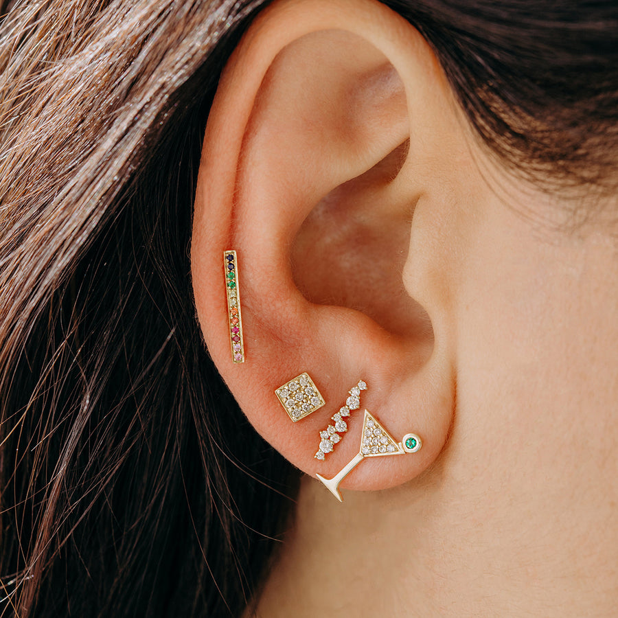 Yellow Gold & Diamond Cocktail Bar Stud Earrings