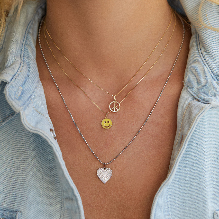 Colorful enamel chain necklace with smiley face charm; smiley face charm; enamel chain necklace